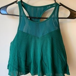 Alo emerald green flow workout top women's size s